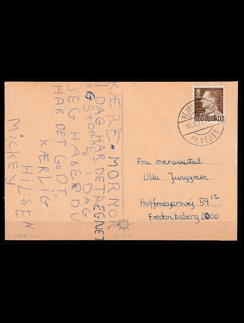 DK Postkort stemplet VEJLBY STRAND pr. VEJBY T.2, senest reg. 15-7-71
