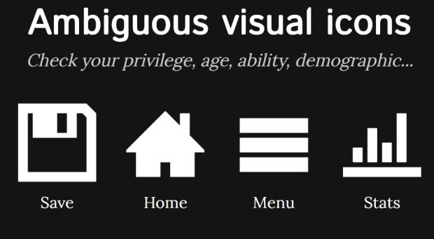 Überblick über uneindeutige Icons