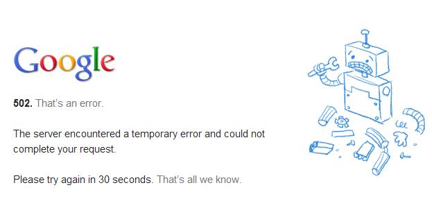 Gmail error msg