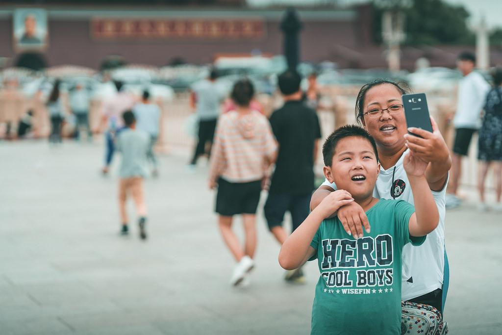 Pekín - Selfie en la Plaza de Tiananmen