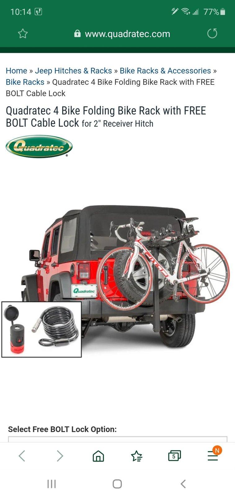 hitch mounted bike rack w 37 tire