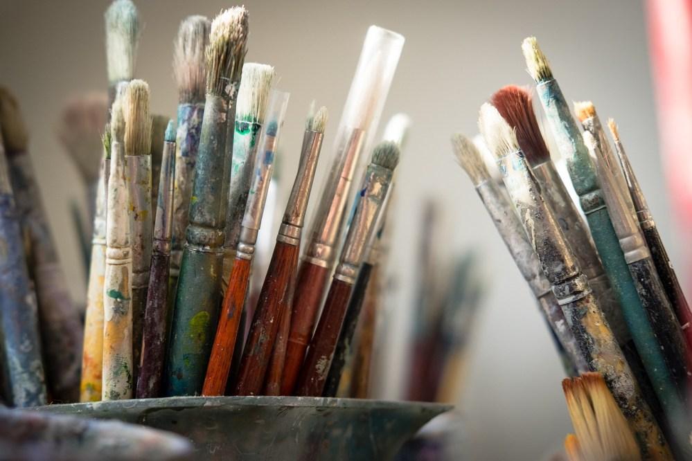 brushes, paint, artist