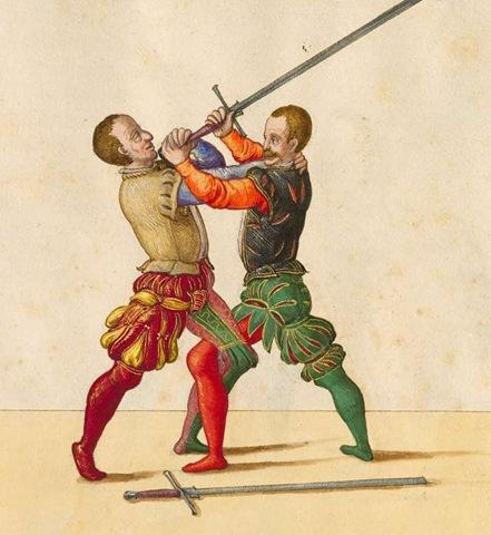 Lámina del manual de esgrima alemán del s.XVI de Paulus Hector Mair, que muestra una acción de combate cerrado o juego corto.