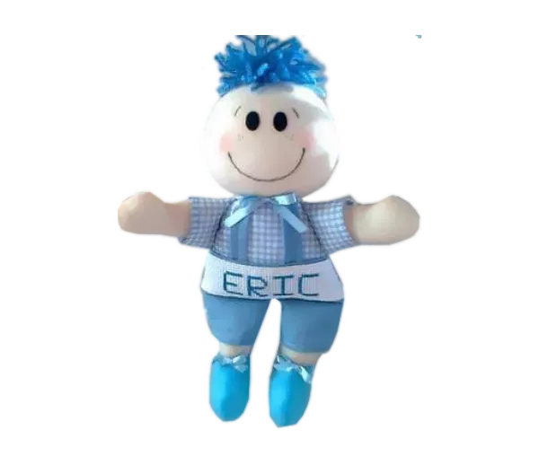 Boneco de Pano Personalizado com Nome de Roupa de Xadrez Azul