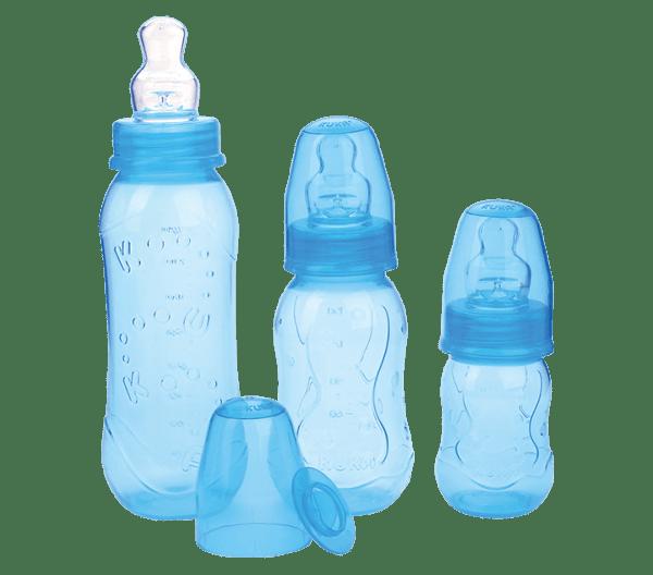Kit Kuka Mamadeira Aquarela Ortodôntica Silicone Azul