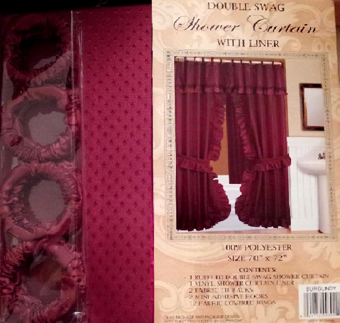 Fabric Shower Curtains Water Repellent Country Lace Double Swag Tie Back Polyester