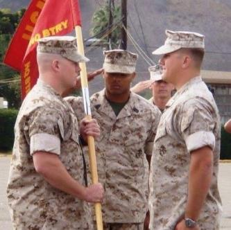 Jim and 3 other Marines at the changing of the guard in Iraq