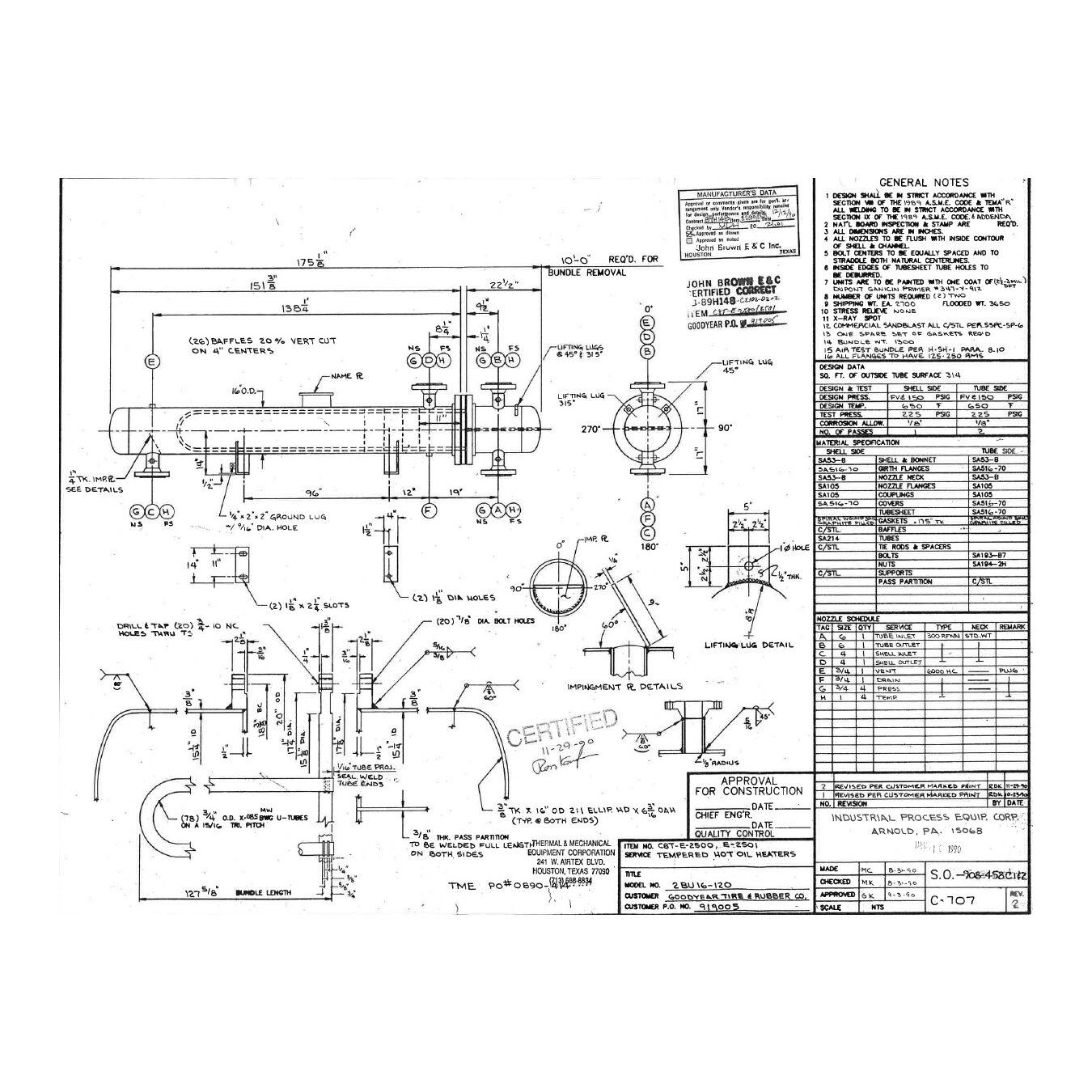 used ipec shell amp tube u tube heat exchanger 325 sq ft