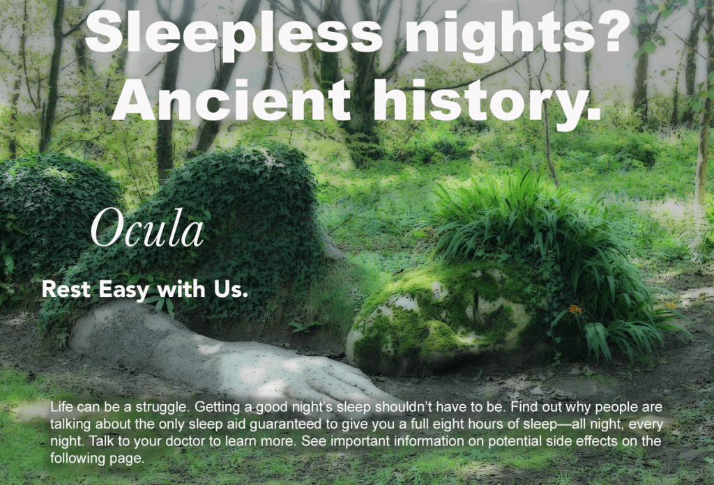 Advertisement for Ocula featuring a sleeping statue, making insomnia a relic of the past.