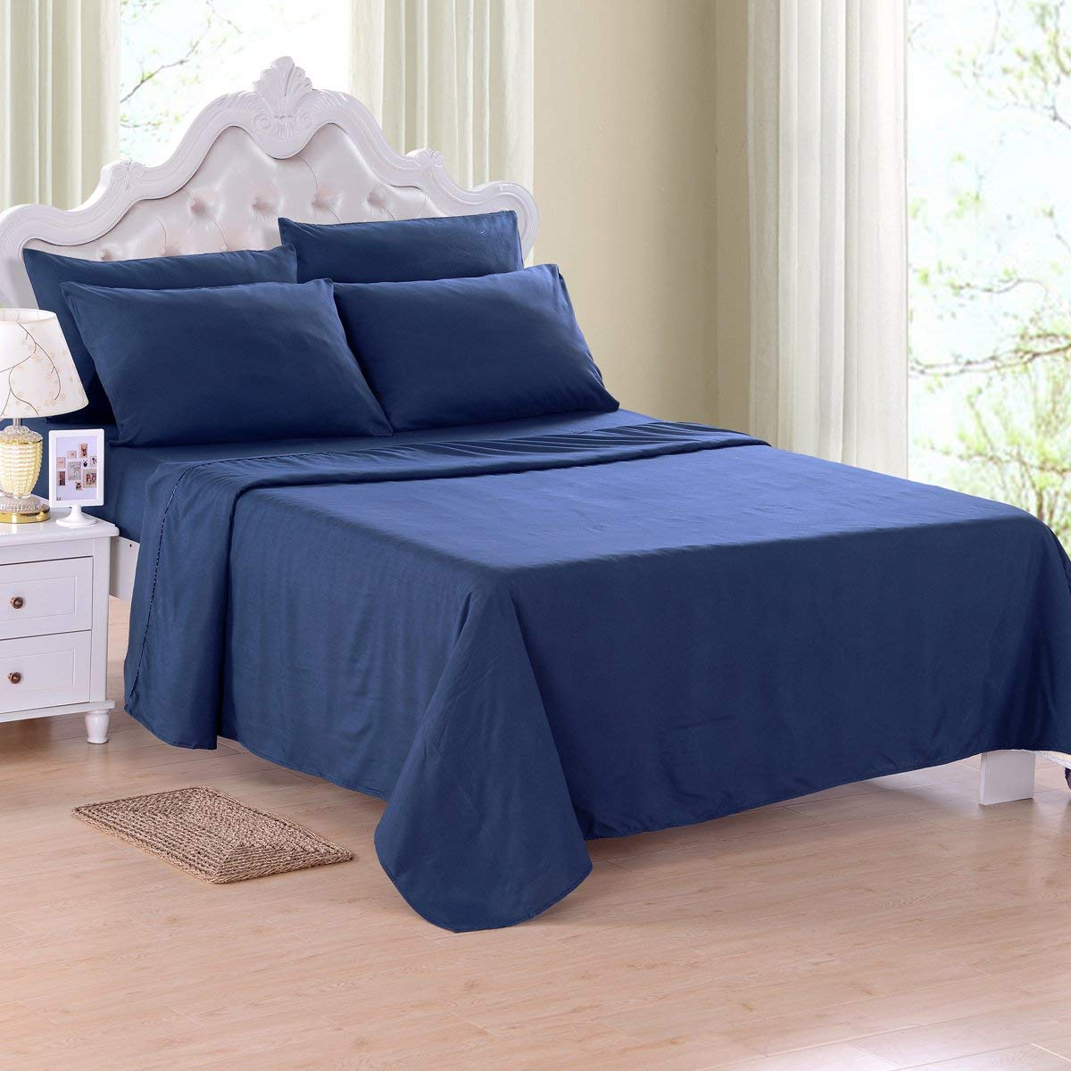 Fitted Bed Sheet Set Full Size Breathable