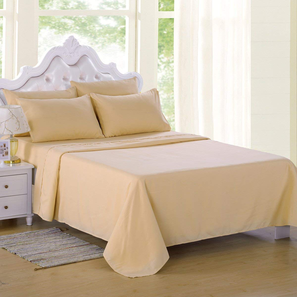 4 Piece Bedding Up To 14 Inch Silky Brushed Microfiber