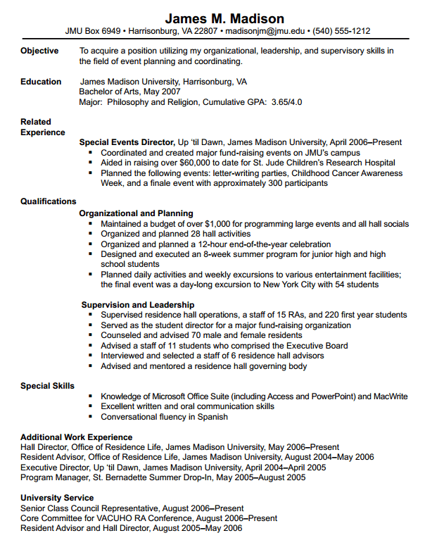James Madison University Resumes Format