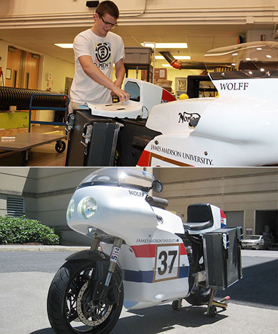 James Madison University Engineering Students with electric motorcycle