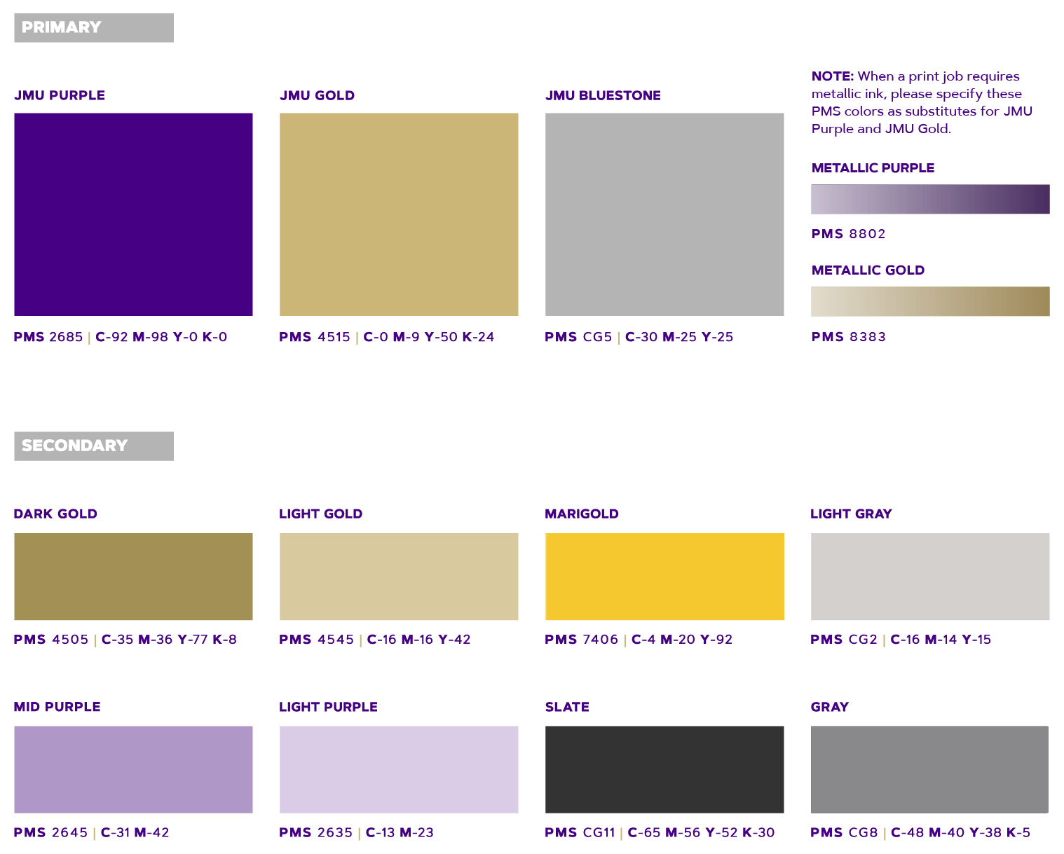 James Madison University Jmu Identity Colors