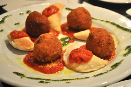 Calzone and arancini