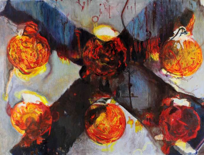"""Balls of Fire 34"""" x 45"""" Mixed Media on Canvas"""