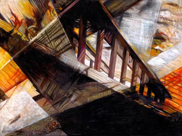 "Bridge to Somewhere 38"" x 50.5"" Mixed Media on Canvas"
