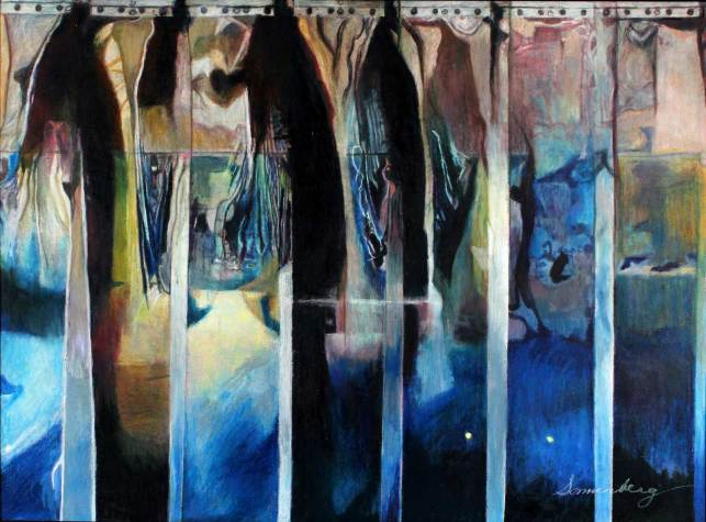 "Steeple of the Dawn 37"" x 50"" Mixed Media on Canvas"
