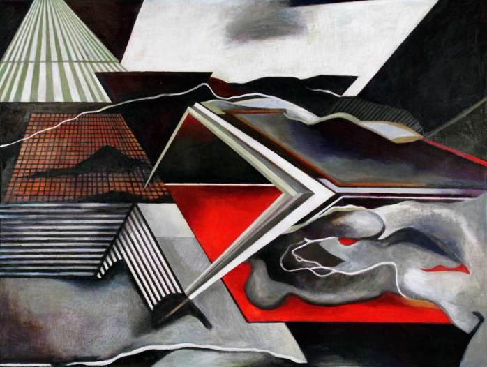 """Urban Landscape 37.5"""" x 50"""" Mixed Media on Canvas"""