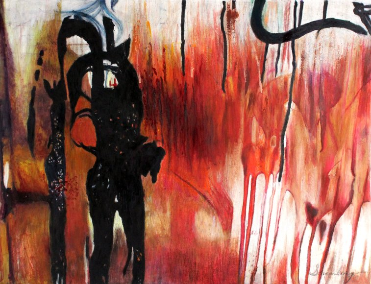 """Lady Of The Night 38"""" x 51"""" Mixed Media on Canvas"""