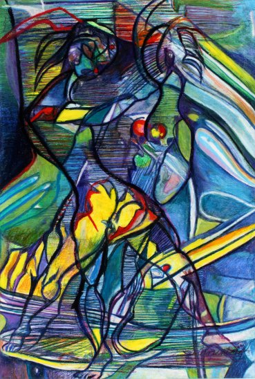 """Cats 49"""" x 33"""" Mixed Media on Paper"""