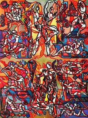 """Dance Fantastique 48"""" x 36"""" Mixed Media on Canvas"""