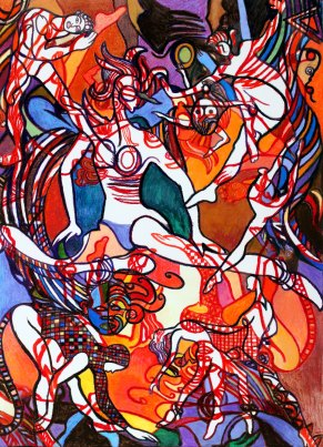 "Dance Fantastque III 50"" x 38"" Mixed Media on Canvas"