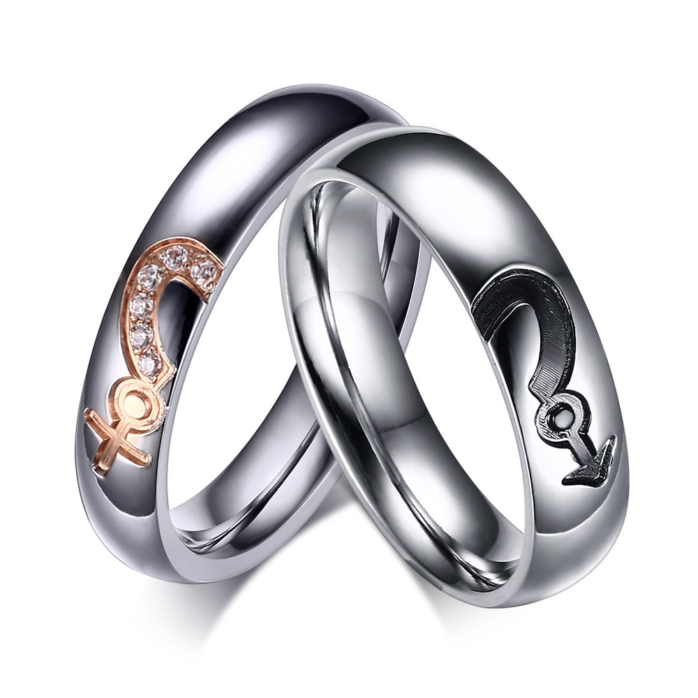 Silver Titanium Steel Round Cut Gemstone Promise Ring For