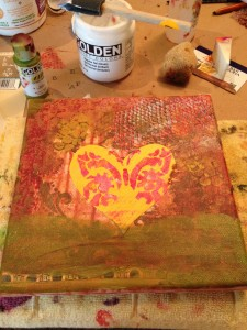 an image showing adding paint to butterfly and heart collage