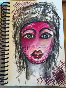 My second art journal face also ala Dina Wakley