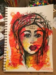 a photo of an Art Journal face created for an actor friend