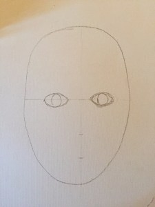 The beginning of a face sketch - the initial sketches
