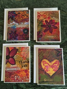 set of 4 hand painted greeting cards