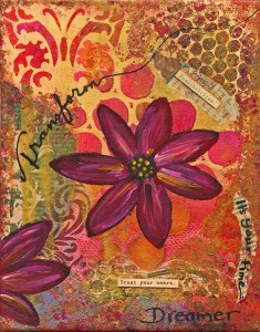"A collage with a flower in the center, a butterfly in teh top left corner and the work ""Transform"" on the left with inspiring phrases in tuscan colors"