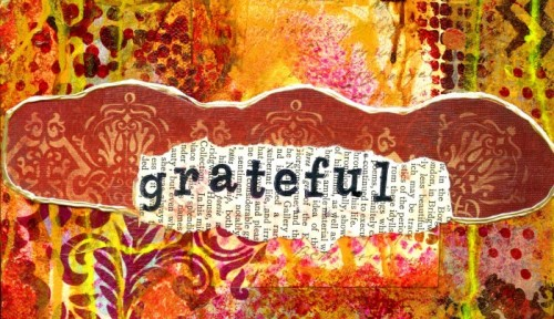 """a portion of a collage that says """"grateful"""" in beautiful shades of brown and gold"""