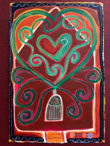 a painting with a rough house in the background and swirls on the front of it and a heart in the center