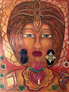 an image of my talisman painting - a huge goddess woman with a sword head dress, cosmos and compass earrings, a heart at my throat with a candle in it and topped by a lotus, a phoenix rising in the bottom right corner and a book of impact on the bottom left