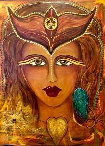 a large image of a goddess face with an ornate headpeice, a blue feather earring in her left ear, a dog in the left lower corner, & a heart at her throat