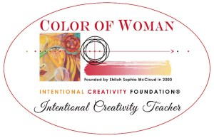 An image stating: Color of Woman - Intentional Creativity Teacher with an image of half a lady's face, with a green eye and a red flower off the side of her head