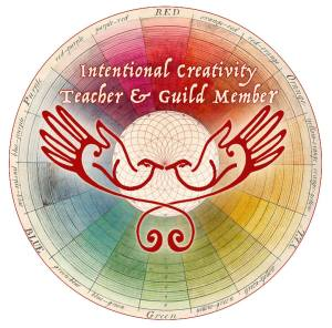 An image for the Intentional Creativity Guild - the background is a faint color wheel and the foreground has wings/hands open and embracing the world