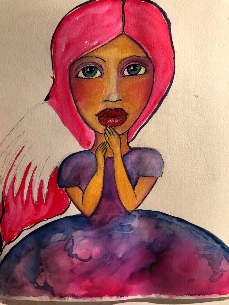 An angel being painted in water color paints starting to take shape on the paper