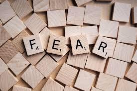 """The letters in wood blocks spelling """"Fear"""""""