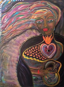 The completed painting of a lady with flowing colorful hair with a heart with flames arising from it and an eye in the center of it and her right hand wrapped around a basket