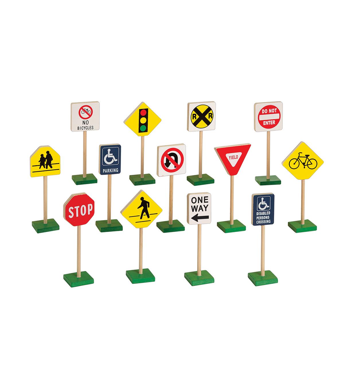 7 Inch Block Play Traffic Signs 13 Piece Set