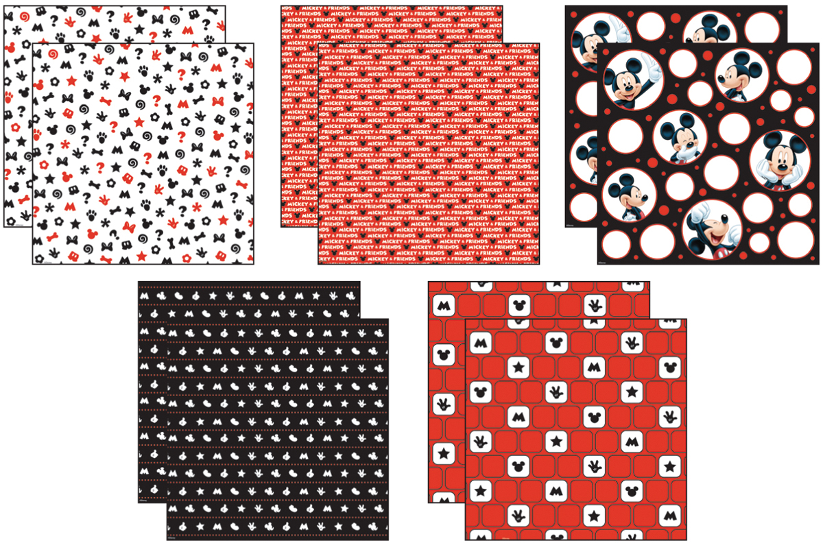 Disney Mickey Black White Red Paper Pack 12 X12 10 Sheets 2 Each 5 Textured Papers