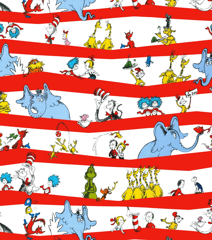Dr Seuss Cotton Fabric 44 Stripe