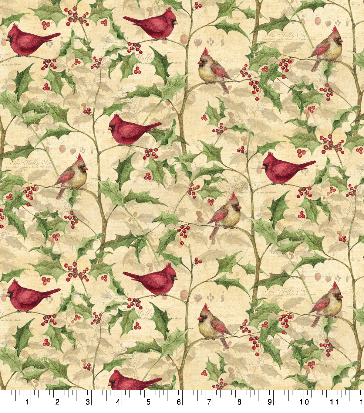 Cotton Holiday Fabric Print 43Cardinals On Vines By