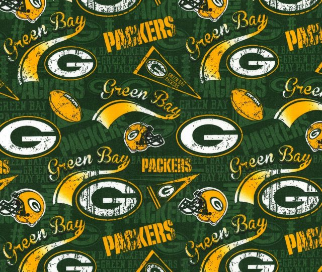 Green Bay Packers Cotton Fabric Retro