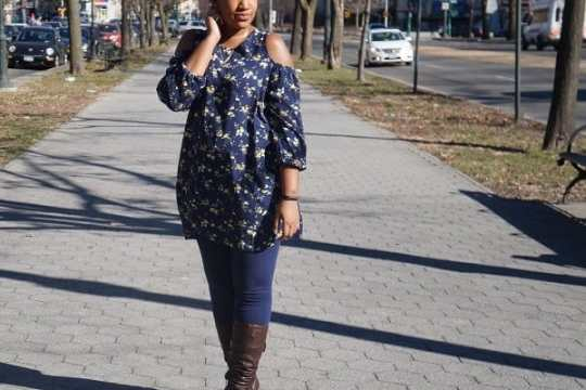 Cold Shoulder Dress with leggings and boots