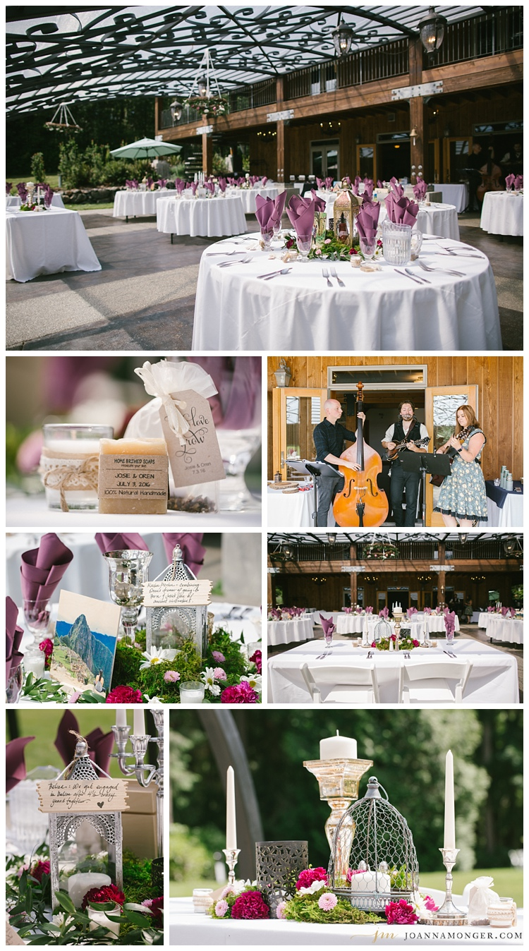 Beautiful centerpieces at great woodland venue near Seattle,